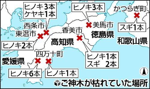 「ご神木立ち枯れ」、2005年以降に愛媛、徳島、高知、和歌山4県の神社7か所で報告のあったもの(読売2012年12月19日)