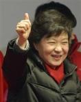 韓国大統領選で当選確実となった朴槿恵氏=18日、ソウル市内