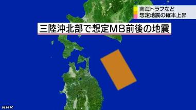 三陸沖北部地震発生確率値 | Hashigozakura