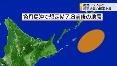 地震発生確率の更新図・色丹島沖1