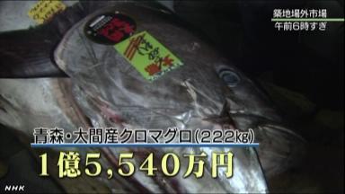 大間産マグロ1億5千万円 1