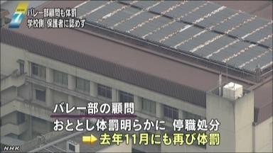 大阪 バレー部でも顧問が体罰1