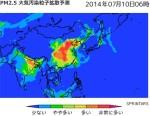 Sprintars_PM2.5大気汚染粒子拡散予測_2014年7月10日06時の予測画像