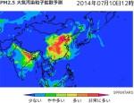 Sprintars_PM2.5大気汚染粒子拡散予測_2014年7月10日12時の予測画像