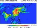 Sprintars_PM2.5大気汚染粒子拡散予測_2014年7月7日12時の予測画像