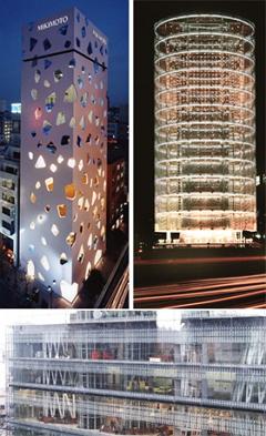(左上の写真)東京にある「MIKIMOTO Ginza 2」(2005)。チーズの塊を連想させる穴があいていることから「チーズビルディング」と呼ばれる。(右上の写真)横浜にある「風の塔」(1986)。渦を巻くようにそびえ立っているこの建物は、天候によって照明が変わる。(下の写真)宮城県の「せんだいメディアテーク」(2000)。13本のガラス張りの柱が建物の中を貫く。