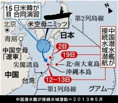 中国潜水艦・接続水域潜航航行(列島ライン.2013・5)