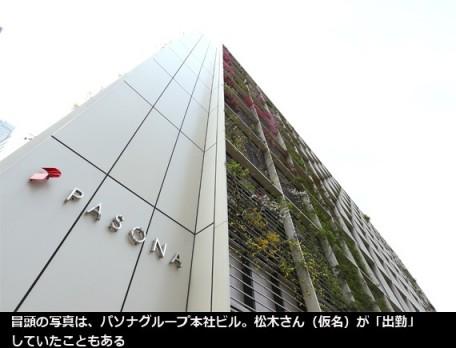 冒頭の写真は、パソナグループ本社ビル。松木さん(仮名)が「出勤」していたこともある