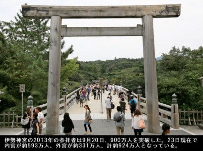 伊勢神宮の2013年の参拝者は9月20日、900万人を突破した。23日現在で内宮が約593万人、外宮が約331万人、計約924万人となっている。