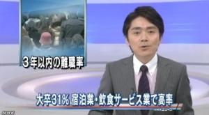 大卒若者の離職率 宿泊・飲食業で5割(NHK2013-10-29)1