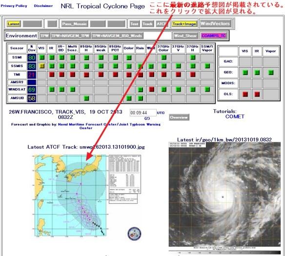 米国海軍・台風進路予想(NRL Tropical Cyclone Page)