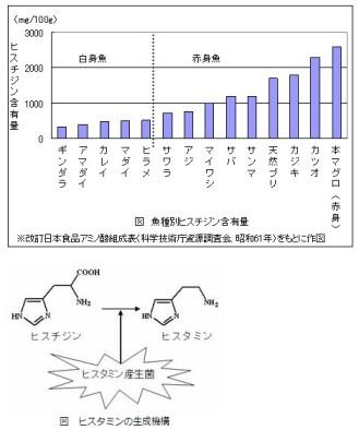 <ヒスタミン>魚種別ヒスチジン含有量
