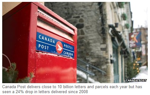 Canada Post to end home delivery in five years (BBC 11Dec2013)