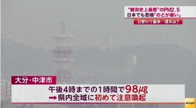 中国で「PM2.5」大気汚染が最悪レベルに⇒影響は福岡や大分にも(FNNニュース(12月6日 18時44分)画像3
