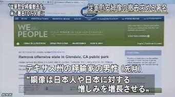 慰安婦の像撤去の署名10万超(NHK2014年1月4日)_3