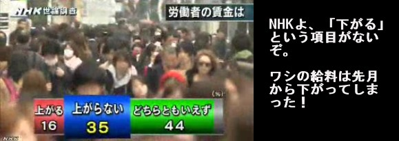 NHK世論調査2014年2月_労働者の賃金は上がるか