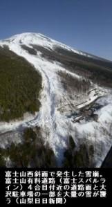 富士山4合目_スバルライン雪崩(山梨日日新聞2014-3-18)_雪崩画像