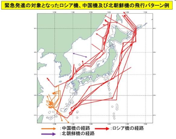 緊急発進の対象となった中国機及びロシア機の飛行パターンの図_2014-4-9