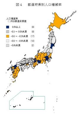 都道府県別人口増減率の図_総務省2014年4月15日公表_人口推計(平成25年10月1日現在)