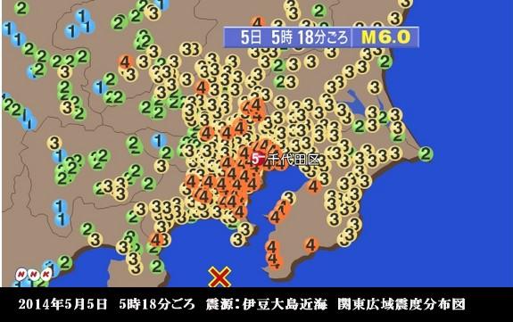 東京・首都地震5月5日_関東広域震度分布図