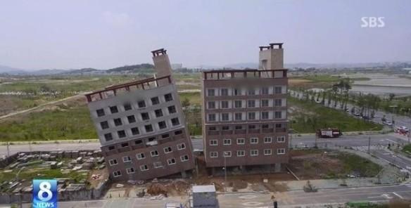 韓国版ピサの斜塔_完成予定のビルが倒壊寸前__遠くから見ると_SBS2014年5月13日