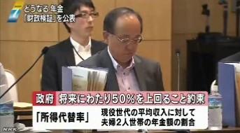 年金財政状況見通し(厚生労働省発表)_NHKニュース2014年6月3日_画像3