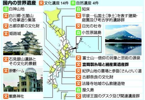 日本の世界遺産全18の分布地図