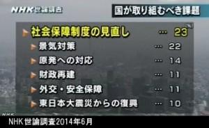 NHK世論調査2014年6月_国が取り組むべき課題