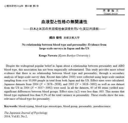 「血液型と性格の無関連性――日本と米国の大規模社会調査を用いた実証的論拠」論文のキャプチャ画像