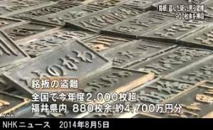 「銘板」窃盗容疑で逮捕 900枚押収 (NHK8月5日)画像5