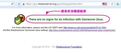 ゲームオーバーゼウス(Game Over Zeus(GOZ))感染状況確認結果の画像