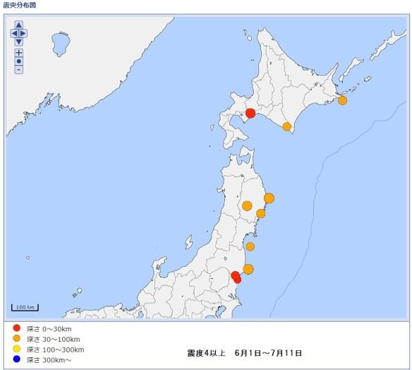 地震_震度4以上_6月1日から7月11日_震度分布地図
