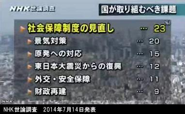 NHK世論調査_2014年7月14日発表_国が取り組むべき課題