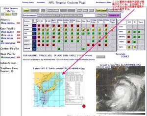 米海軍・台風進路予想図の最新情報の閲覧方法_解説図