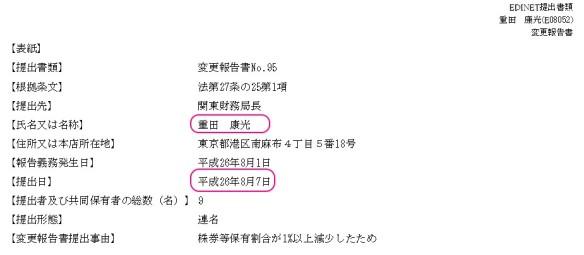 重田康光_有価証券大量保有報告書(平成26年8月7日 変更報告書1ページ)