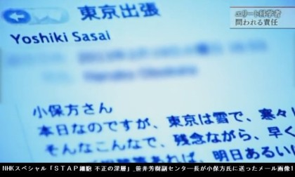 NHKスペシャル「STAP細胞 不正の深層」_笹井芳樹副センタ―長が小保方氏に送ったメール画像1