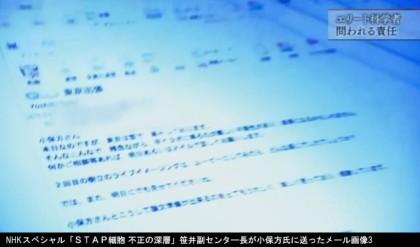 NHKスペシャル「STAP細胞 不正の深層」_笹井芳樹副センタ―長が小保方氏に送ったメール画像3