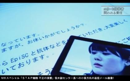 NHKスペシャル「STAP細胞 不正の深層」_笹井芳樹副センタ―長への小保方氏の返信たメール画像1