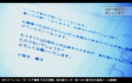 NHKスペシャル「STAP細胞 不正の深層」_笹井芳樹副センタ―長への小保方氏の返信たメール画像3
