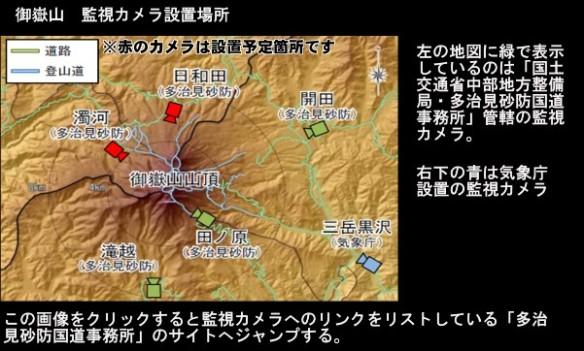 御嶽山・監視カメラの設置場所地図