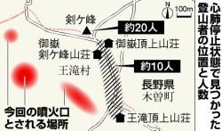 御嶽山噴火_心肺停止状態で見つかった登山者の位置と人数の図