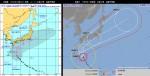 台風18号進路予想図_米国海軍vs気象庁_2014年10月4日12時と11時_比較図