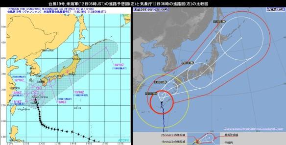 台風19号_米海軍(12日06時JST)の進路予想図(左)と気象庁12日06時の進路図(右)の比較図