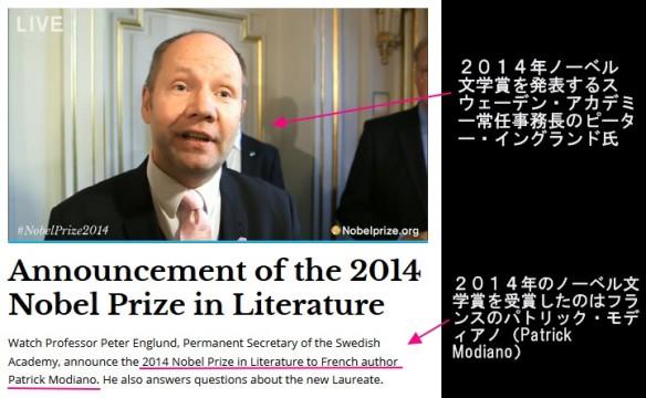 2014年ノーベル文学賞受賞⇒フランスのパトリック・モディアノ(Patrick Modiano)